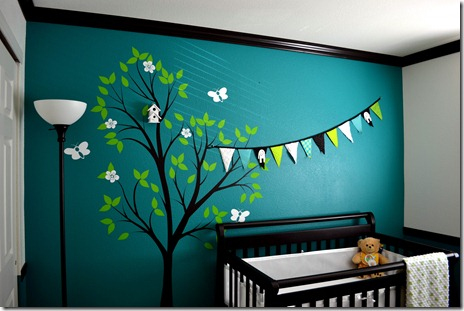 Black, white, and teal nursery