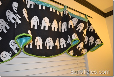 Black and white nursery valance