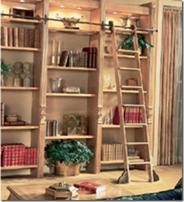 Rolling bookshelf ladder