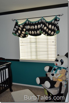 Black white nursery valance
