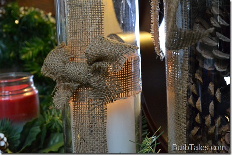 Burlap wrapped glass hurricanes with bow
