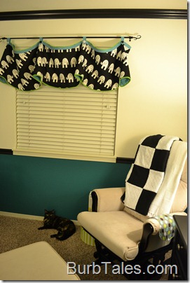 Black white teal nursery with valance