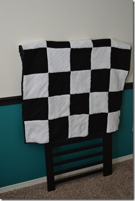 Black and white baby blanket front