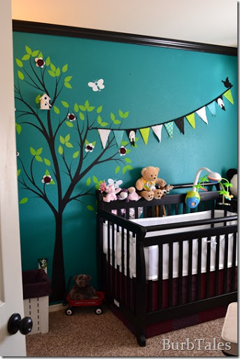 Teal nursery with tree