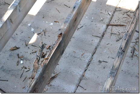 Rotten deck joists.  About as supportive as a training bra.