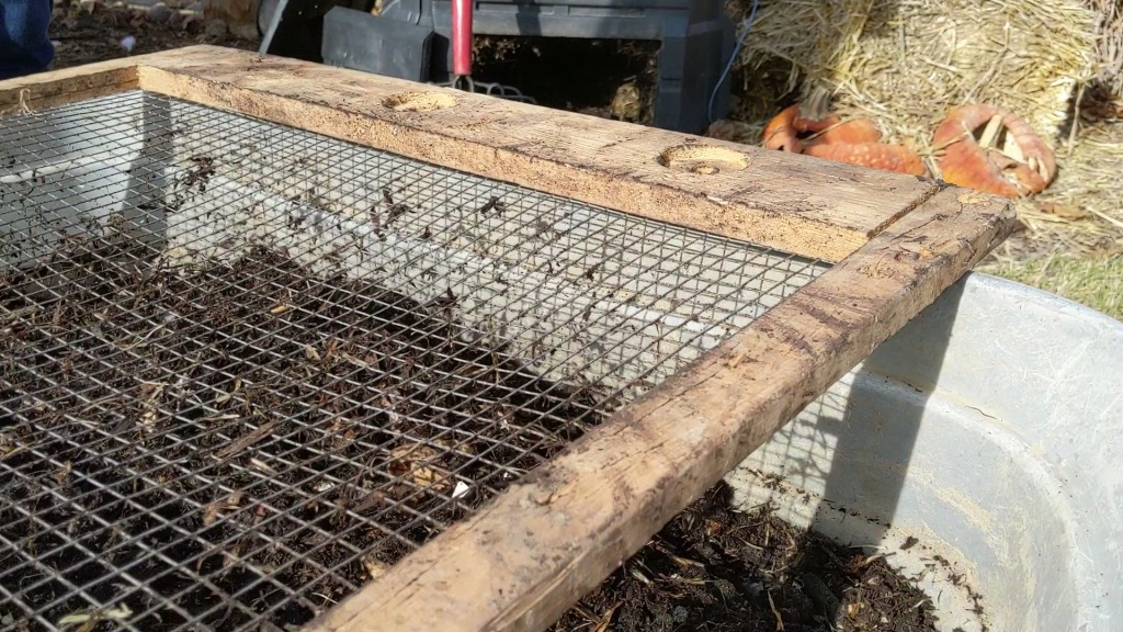 Homemade compost sifter, DIY compost sifter, how to sift out finished compost